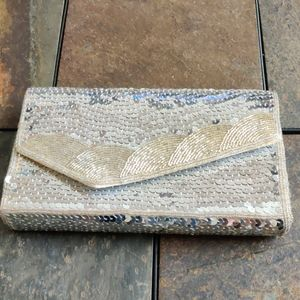 Vintage Sequin and Beaded Envelope Clutch Purse